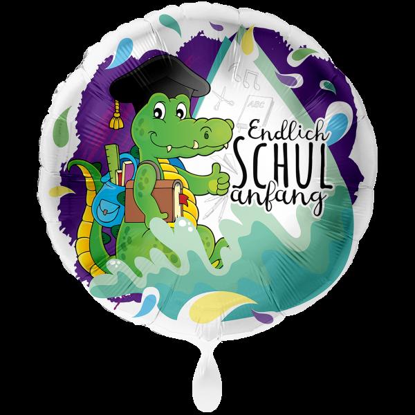 1 Ballon XXL - Krokodil Endlich Schulanfang
