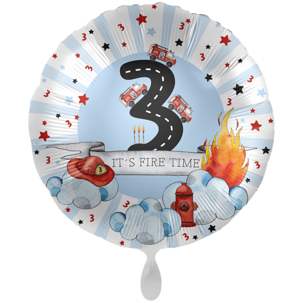 1 Ballon XXL - Happy Fire Engine - Drei