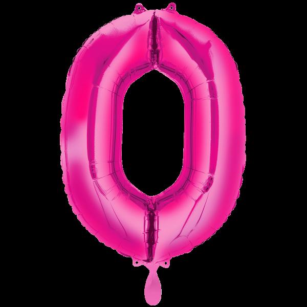 1 Ballon XXL - Zahl 0 - Pink