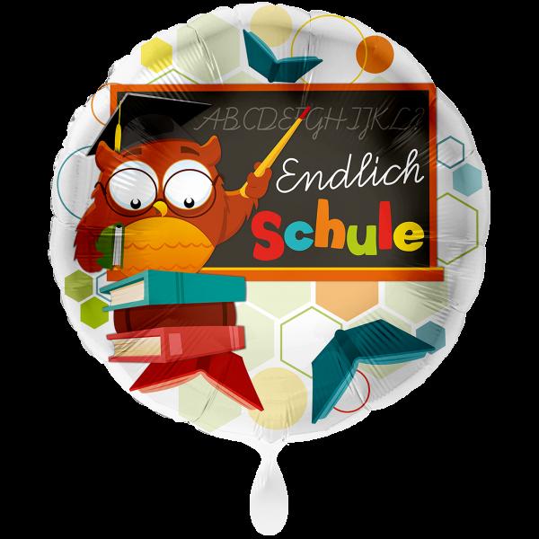1 Ballon XXL - Eule Endlich Schule
