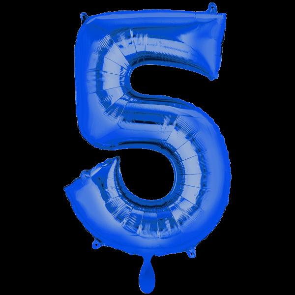 1 Ballon XXL - Zahl 5 - Blau
