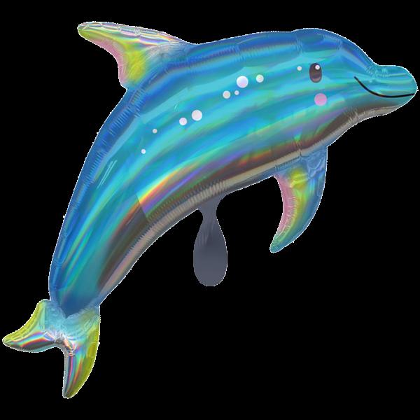 1 Ballon XXL - Iridescent Blue Dolphin
