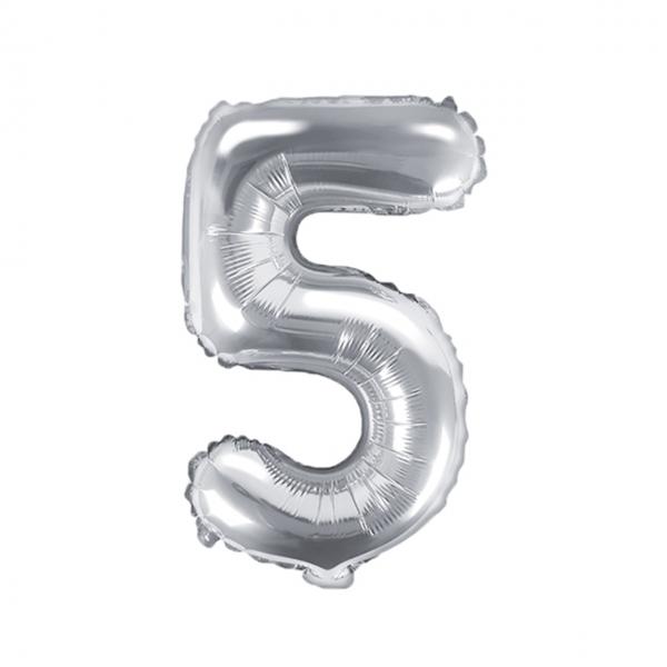 1 Ballon XS - Zahl 5 - Silber