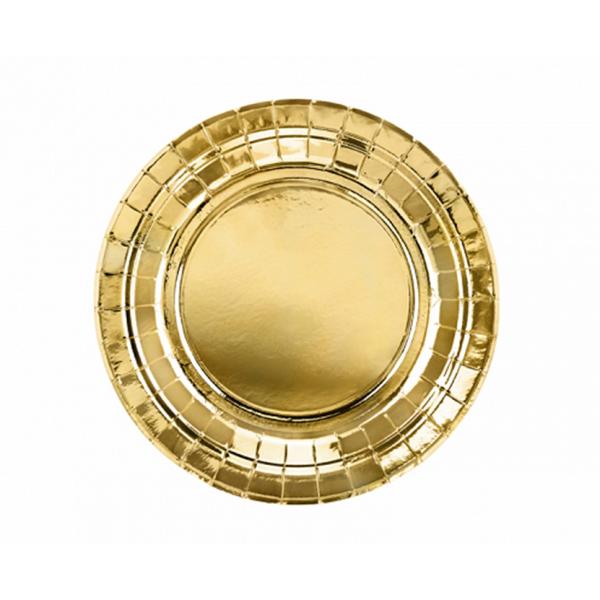 6 Pappteller Trend - Ø 18cm - Gold