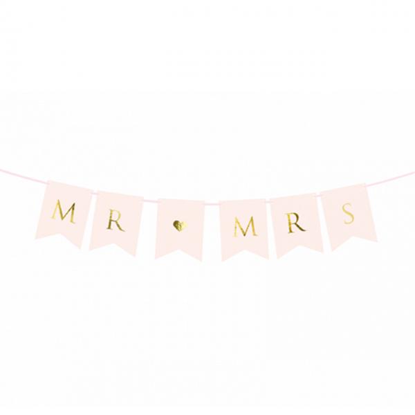 1 Bannergirlande - Mr & Mrs - Rosa