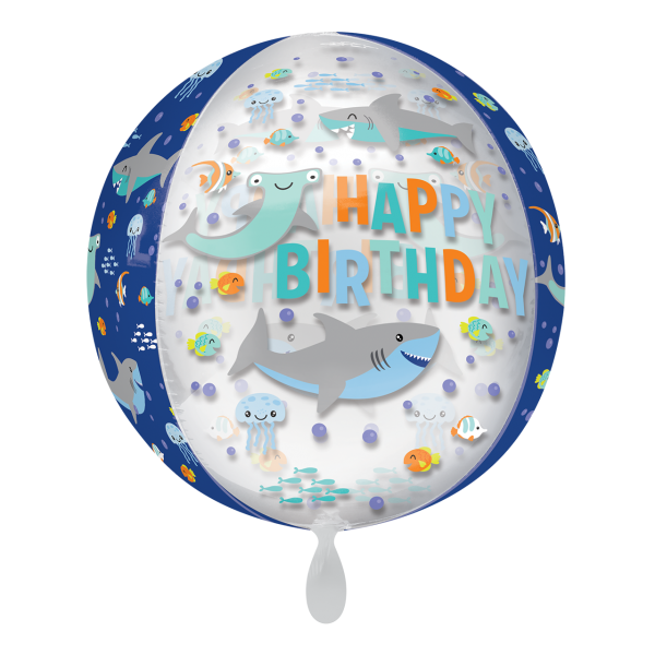 1 Ballon - Orbz - Happy Birthday Sharks