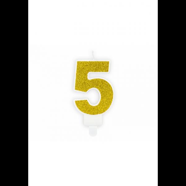 1 Kuchenkerze - Zahl 5 - Gold