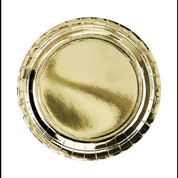 6 Pappteller Trend - Ø 23cm - Gold