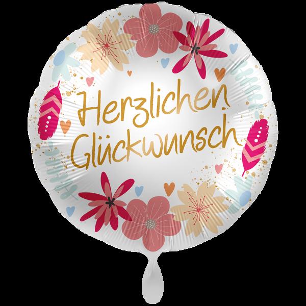 1 Ballon XXL - Glückwunsch Boho Flowers