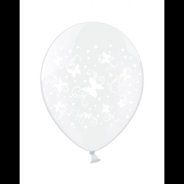 6 Motivballons Clear - Ø 30cm - Butterflies - Weiß
