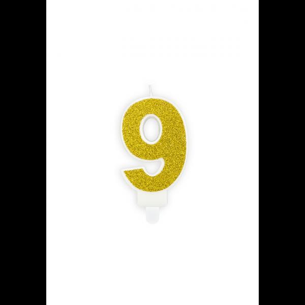 1 Kuchenkerze - Zahl 9 - Gold