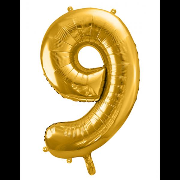 1 Ballon XXL - Zahl 9 - Gold