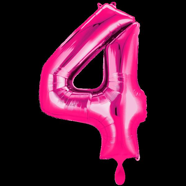 1 Ballon XXL - Zahl 4 - Pink