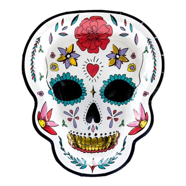 6 Pappteller Trend - Ø 23cm - Skull