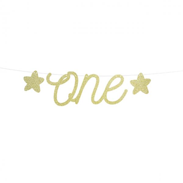 1 Bannergirlande - First Birthday - Glittergold