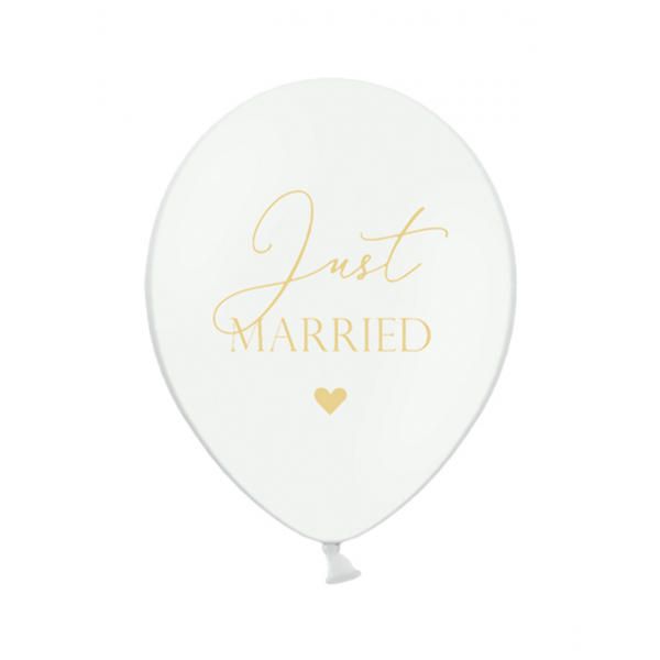 6 Motivballons - Ø 30cm - Just Married