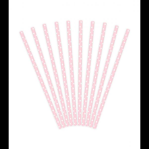 10 Papierstrohhalme - Dots - Rosa