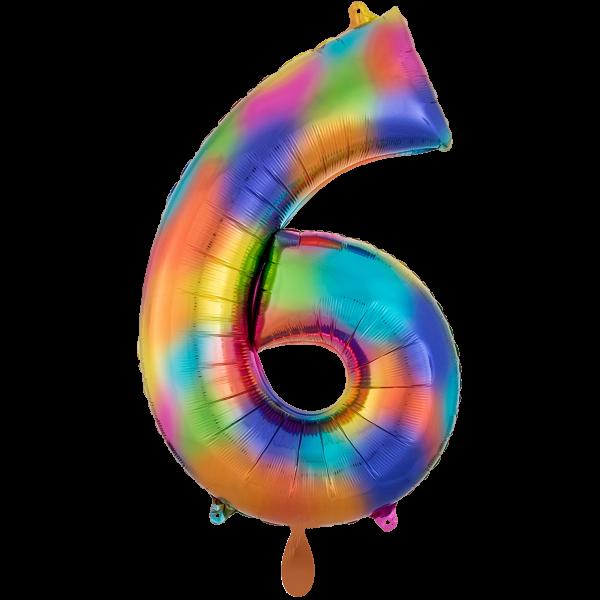 1 Ballon XXL - Zahl 6 - Regenbogen