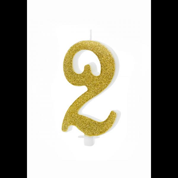 1 Kuchenkerze XL - Zahl 2 - Gold Glittery