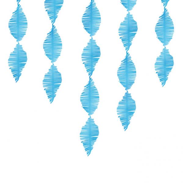 1 Papiergirlande - 3m - Crepe Fringe - Hellblau