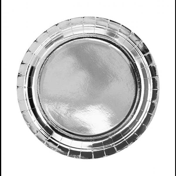 6 Pappteller Trend - Ø 23cm - Silber