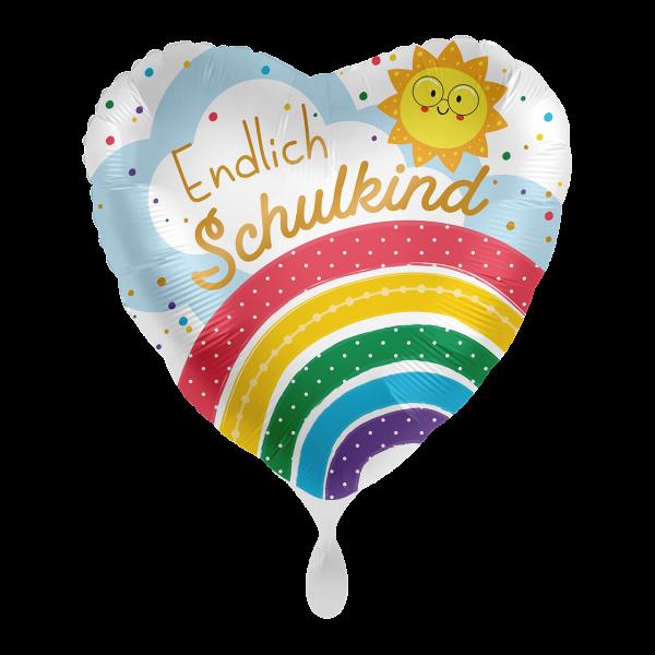 1 Ballon - Endlich Schulkind Regenbogen