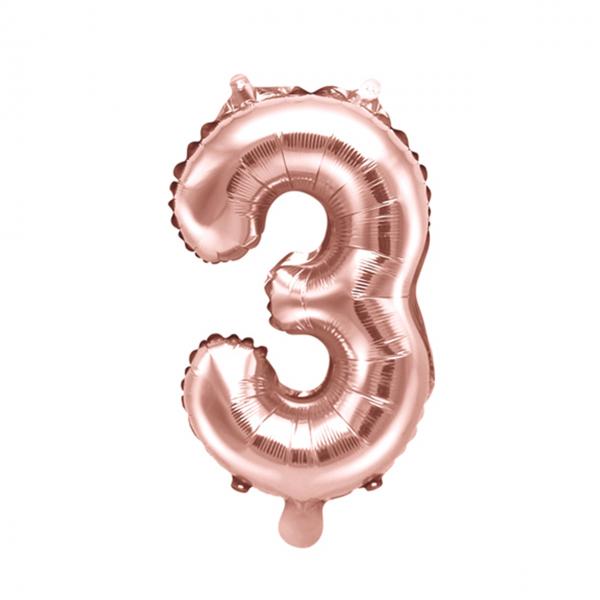 1 Ballon XS - Zahl 3 - Rosegold
