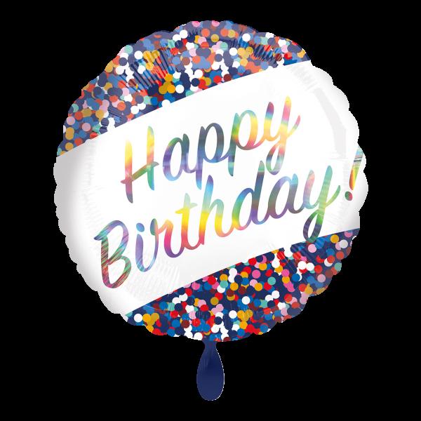 1 Ballon - Iridescent Birthday Confetti