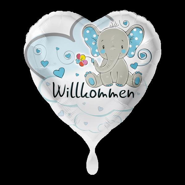 1 Ballon - Elefant Willkommen Hellblau