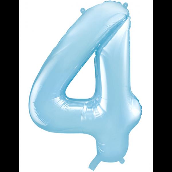 1 Ballon XXL - Zahl 4 - Hellblau