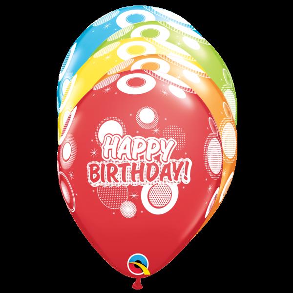 6 Motivballons - Ø 27cm - Birthday Dots & Glitz