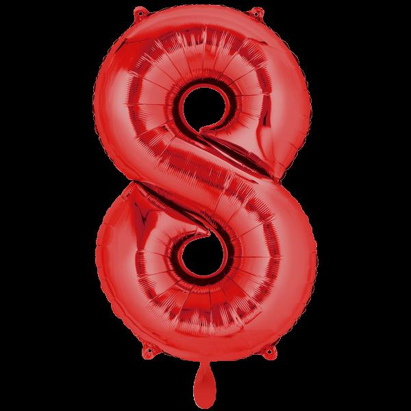 1 Ballon XXL - Zahl 8 - Rot
