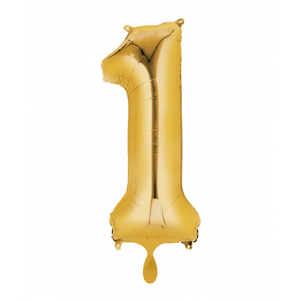 1 Ballon XL - Zahl 1 - Gold