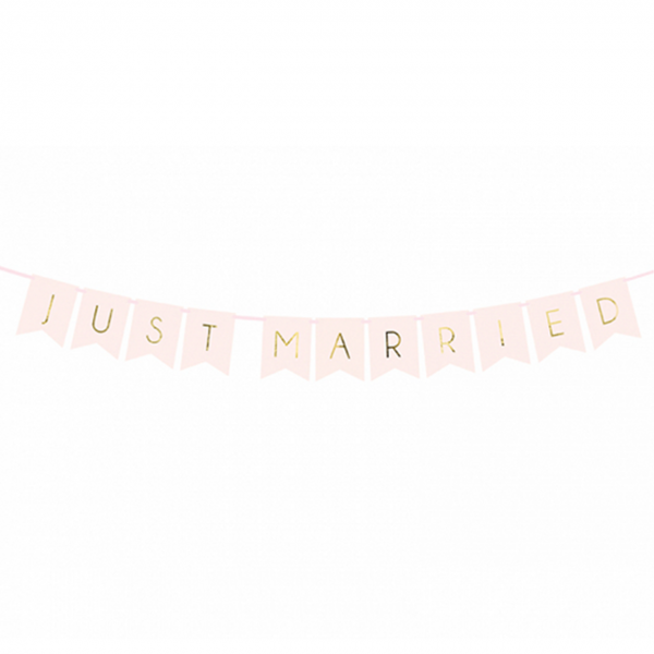 1 Bannergirlande - Just Married - Rosa