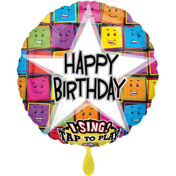 1 Musikballon - Happy Birthday Faces