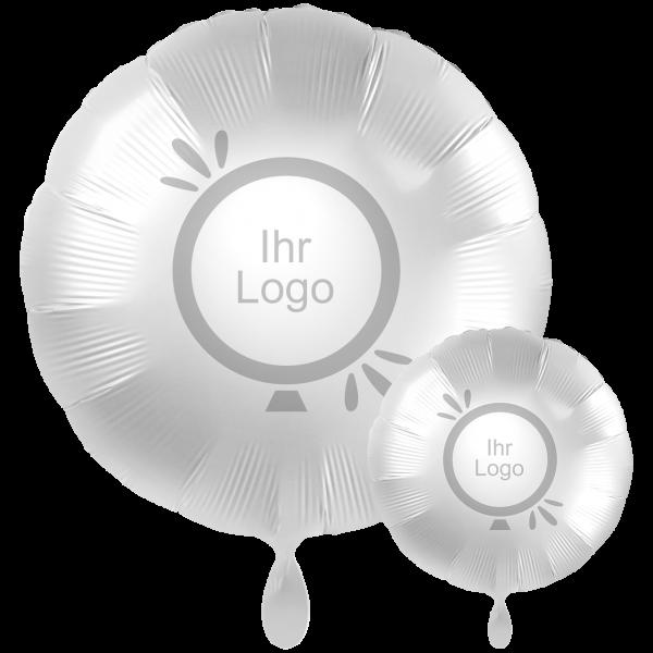 1 Werbeballon XXL - Rund, Ø 71cm, 2-Seitig - Satin - Weiß