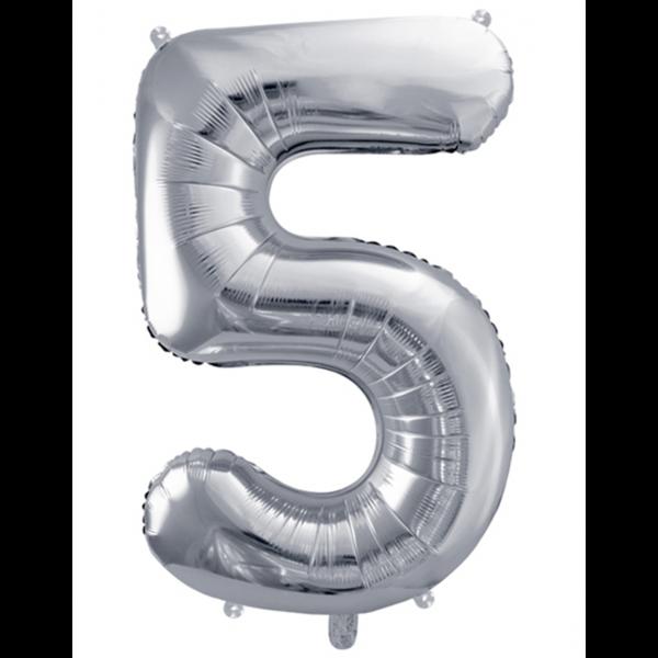 1 Ballon XXL - Zahl 5 - Silber