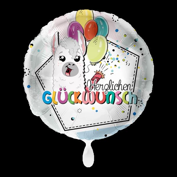 1 Ballon - Lama Herzlichen Glückwunsch