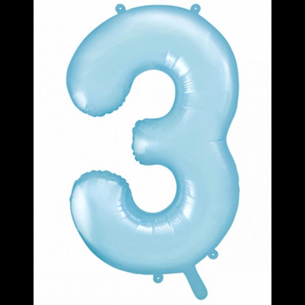 1 Ballon XXL - Zahl 3 - Hellblau