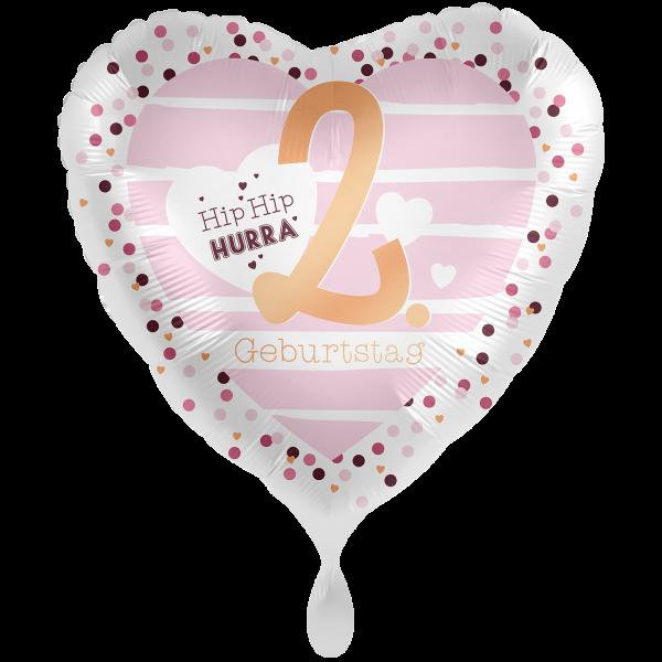 1 Ballon XXL - 2. Geburtstag Hearts