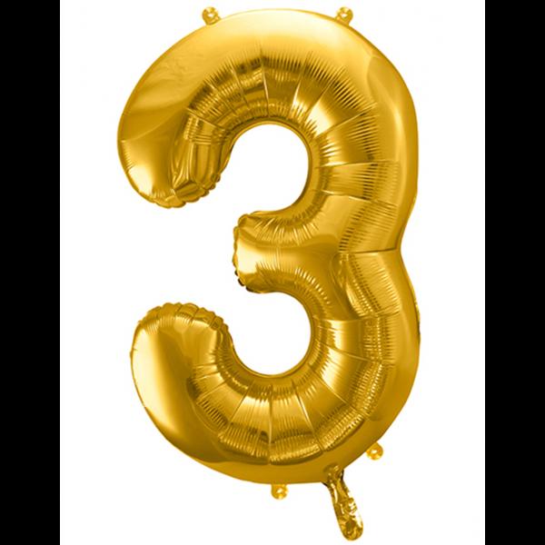1 Ballon XXL - Zahl 3 - Gold