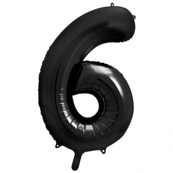 1 Ballon XXL - Zahl 6 - Schwarz