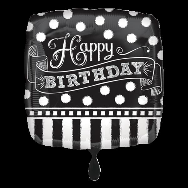 1 Ballon - Black & White Chalkboard Birthday