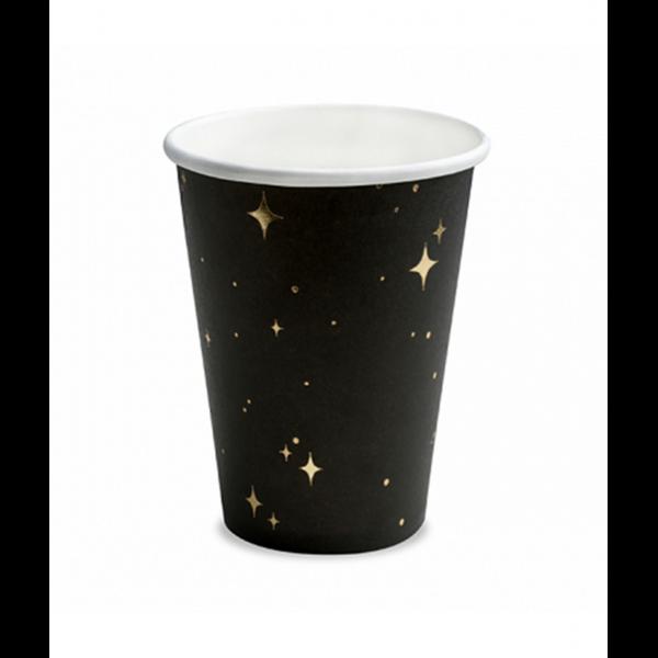 6 Pappbecher Trend - 260ml - Stars Black