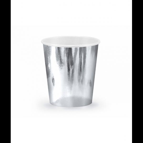 6 Pappbecher Trend - 180ml - Silber