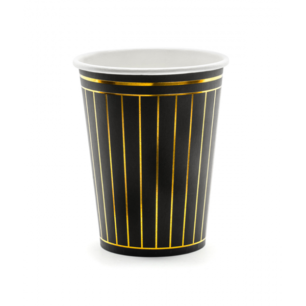 6 Pappbecher Trend - 260ml - Stripes Black