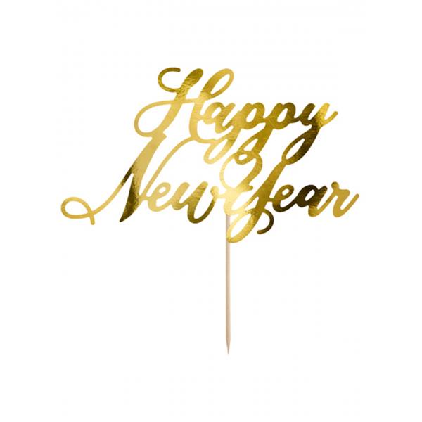 1 Cake Topper - Happy New Year - Gold