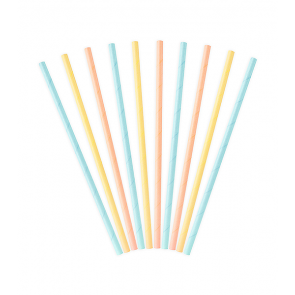 10 Papierstrohhalme - Bunt Pastell