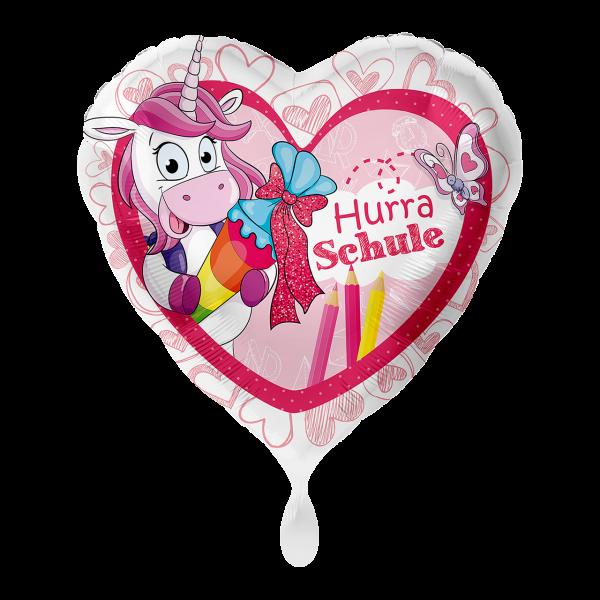 1 Ballon - Einhorn Hurra Schule