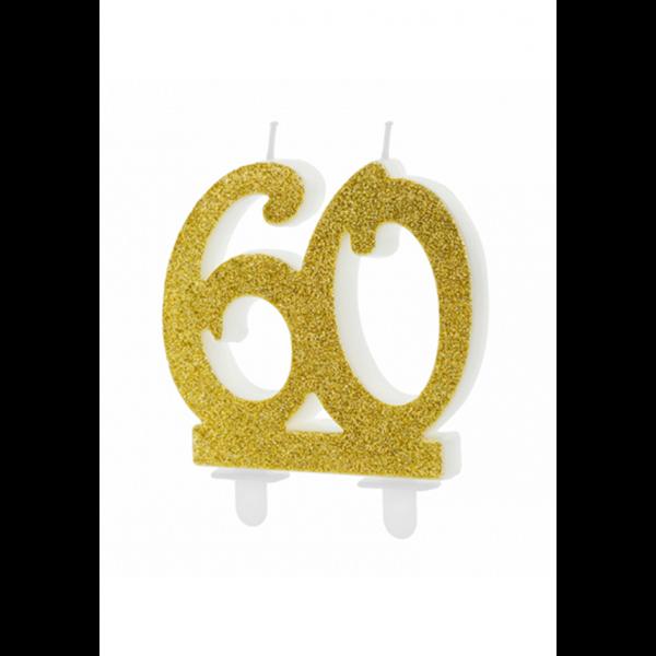 1 Kuchenkerze XL - Zahl 60 - Gold Glittery